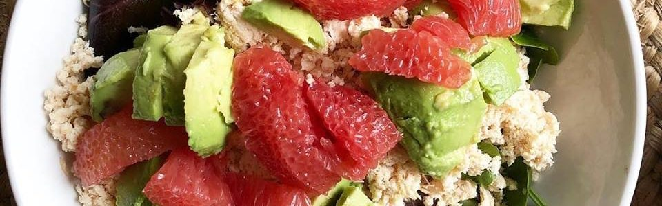 Grapefruit + avocado + Dijon mustard dressing = yum!